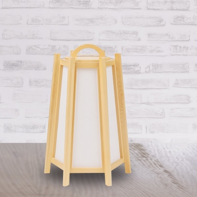Japanese 1 Head Night Lamp Beige Hexagonal Pyramid Table Light with Wood Lamp Shade