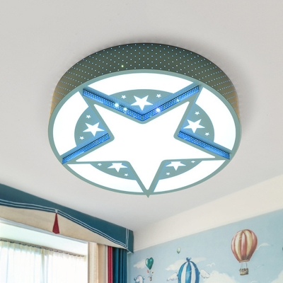 Metallic Drum and Star Flush Lamp Cartoon LED Blue Flushmount Lighting with Laser Out Design