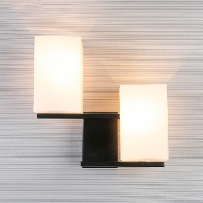 Modern Cuboid Wall Lighting Opal Frosted Glass 2 Heads Living Room Sconce Light in Black/White