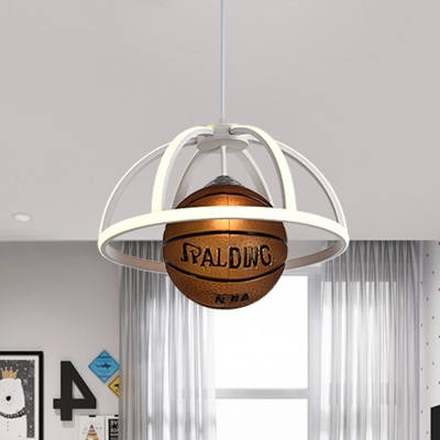 White Dome Cage Ceiling Pendant Kid Acrylic LED Hanging Lamp with Basketball Drop, Warm/White Light