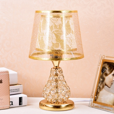 Beautifulhalo coupon: 1 Bulb Fabric Table Light Traditional Gold Barrel Bedroom Nightstand Lamp with Pear Crystal Encrusted Base