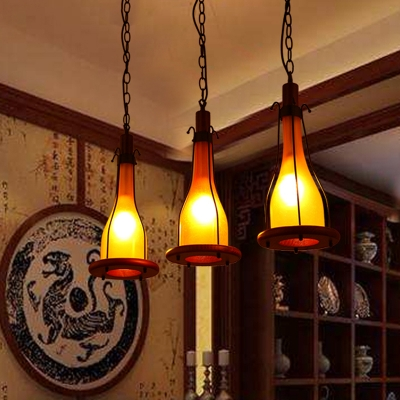 3-Bulb Cluster Pendant Factory Bottle Yellow/White Glass Hanging Ceiling Light with Linear Canopy for Dining Room, White;yellow, HL614195