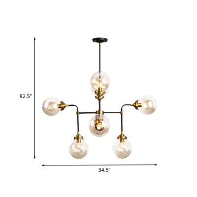 Black Sphere Pendant Chandelier Post Modern 8/12 Heads Clear Glass Ceiling Hang Fixture for Living Room