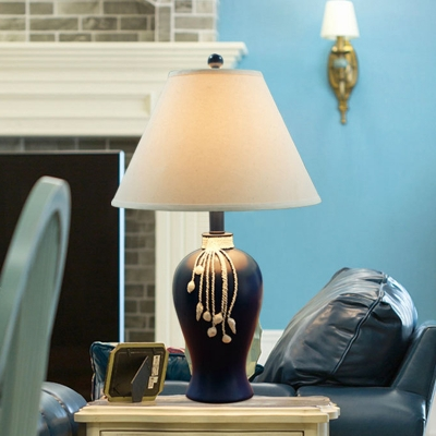 Blue Handcrafted Urn Base Table Lamp Country Resin 1 Bulb Family Room Night Light with Cone Lamp Shade