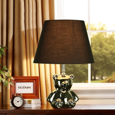 Brown 1 Head Nightstand Light Rural Fabric Conic Table Lamp with Ceramic Bear Base in Polished Silver/Gold