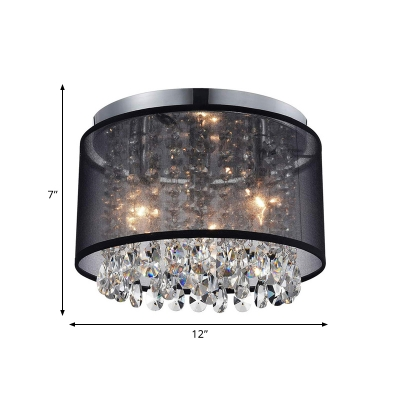 Contemporary Cascade Flush Mount 3 Lights Crystal Ceiling Light in Chrome with Drum Fabric Shade
