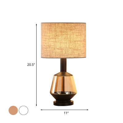 Cylindrical Fabric Table Light Single Bulb Sitting Room Nightstand Lamp in White/Beige with Urn Amber Glass Base