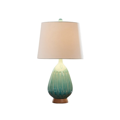 Green 1-Light Nightstand Light Lodge Ceramic Droplet Lounge Table Lamp with Taper Fabric Shad