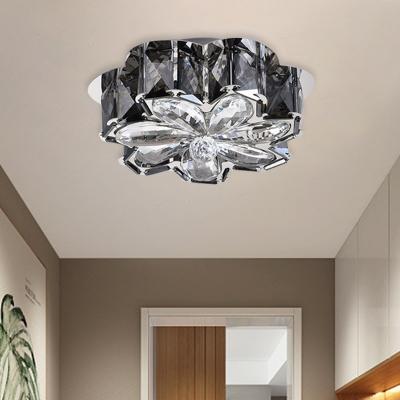Hand-Cut Crystal Floral Flush Light Modern 3 Bulbs Hallway Flush Mount Lighting in Smoke Gray/Amber