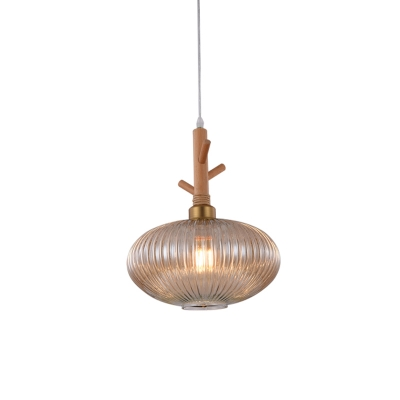 Modern Oval Hanging Light Kit Amber Prismatic Glass 1 Bulb Restaurant Pendant Lamp Fixture with Wooden Branch Cap