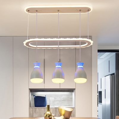 Oblong Cluster Hanging Light Modernist Acrylic 3-Head White/Black Suspension Pendant with Bottle Shade for Dining Room