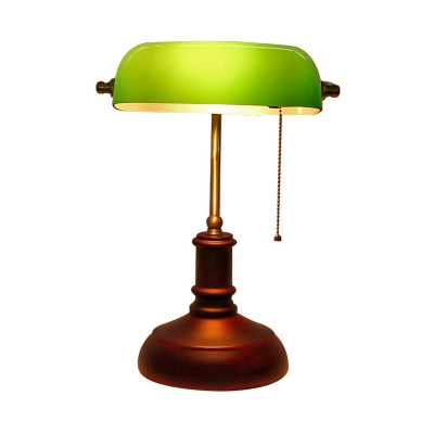 Retro Pull Chain Table Light 1 Head Metal Night Lamp with Elongated Lamp Shade in Green