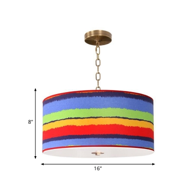 Striped Fabric Drum Pendant Lamp Kids 1-Light Red and Blue Hanging Light Fixture