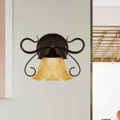 Vintage Flower Wall Mount Light 1 Light Cognac Glass Wall Lamp Sconce in Red Brown