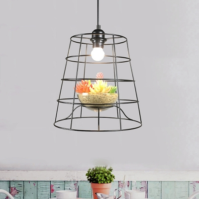 Beautifulhalo coupon: 1 Bulb Barrel Cage Hanging Pendant Industrial Black Iron Ceiling Suspension Lamp with Artificial Vine/Succulent