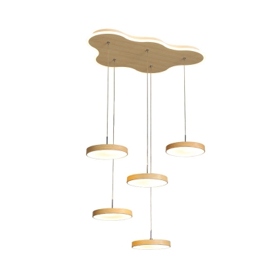 Acrylic Round LED Multi Light Pendant Modern 3/5 Heads Wood Ceiling Suspension Lamp over Table
