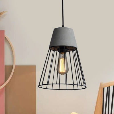 Black/Rose Gold Cone Cage Pendant Lighting Vintage Iron 1 Bulb Coffee Shop Cement Ceiling Lamp, HL614320