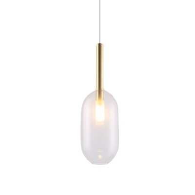 Brass Capsule Hanging Light Simple 1-Light Clear Glass LED Suspended Pendant Lamp
