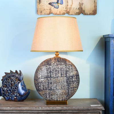 Ceramic Disc Night Lamp Vintage 1 Bulb Hotel Table Lighting with Beige Cone Shade