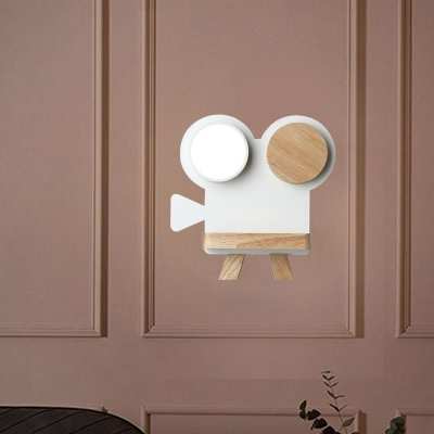Macaron Projector Sconce Light Metal LED Bedside Wall Mounted Lamp Fixture in Grey/White and Wood with Storage Board