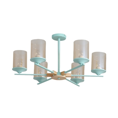 Modern Nordic Radial Chandelier Lighting Iron 6 Heads Bedroom Suspension Pendant in White/Green and Wood with Cylinder Tan Glass Shade