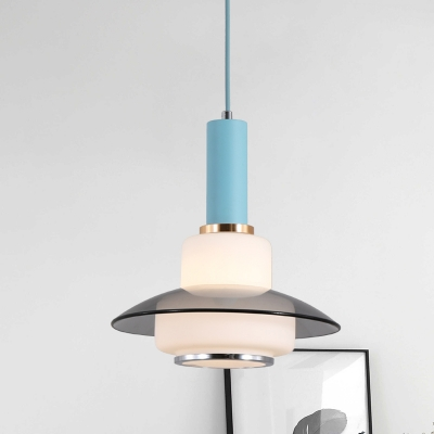 Opal Glass Gourd Hanging Lighting Macaron 1 Head Pink/Light Blue/Gold Finish Pendant Ceiling Lamp over Dining Table