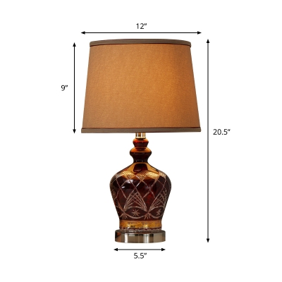 Rustic Carved Jar Night Light 1 Head Ceramic Table Lamp in Brown with Drum Fabric Shade