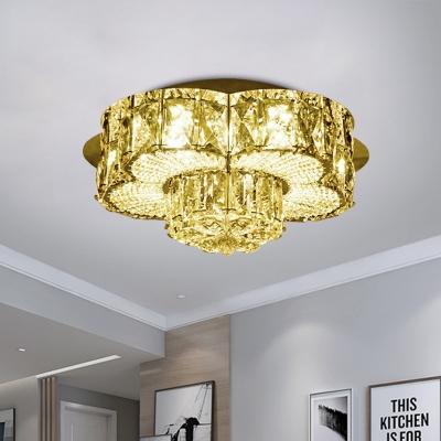 Simplicity Blossom Ceiling Lighting LED Faceted Crystal Flush Mount Spotlight in Gold