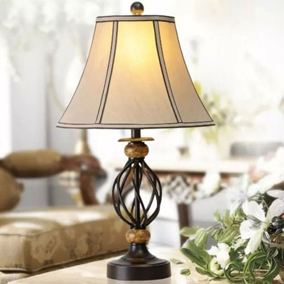 Traditional Twisted Cage Table Light 1 Bulb Iron Nightstand Lamp in Black with Flared Fabric Shade