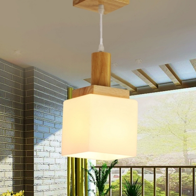 Wood Cube Hanging Pendant Modern Asia 1-Head Cream Glass Ceiling Suspension Lamp