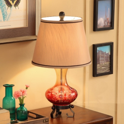 1 Bulb Floral Ceramic Table Light Country Red/Blue Vase Parlor Nightstand Lamp with Fabric Lamp Shade