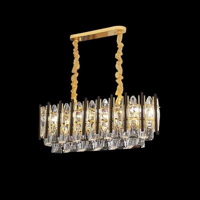 10-Light Island Pendant Light Modernist Tapered Crystal Hanging Ceiling Lamp in Gold