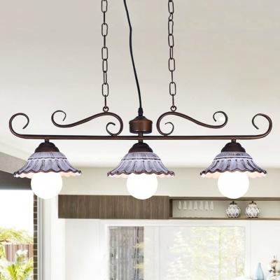 3 Heads Bell Island Pendant Light Countryside Coffee Ceramic Hanging Lamp Kit with Swirl Arm