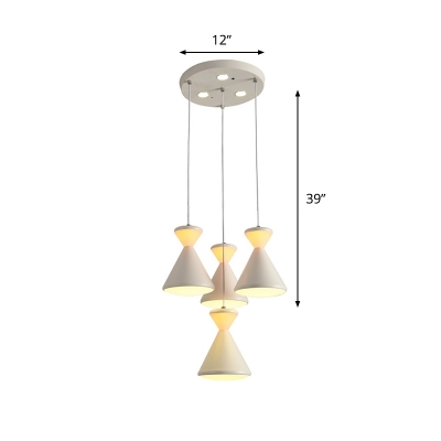 4-Head Bedroom Cluster Pendant Light Contemporary White Hanging Lamp with Hourglass Acrylic Shade