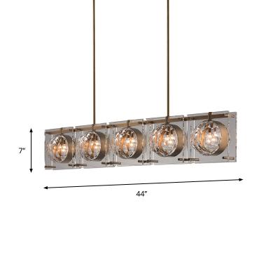 Beveled Crystal Globe Island Lighting Contemporary 5 Bulbs Dining Room Pendant Lamp Fixture in Brass
