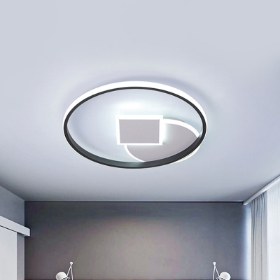 Black and White Ring LED Ceiling Lamp Modernist 16.5