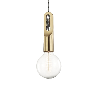Bulb Shape Pendant Light Vintage Clear Glass 1 Light Gold Ceiling Suspension Lamp with Hanging Rope