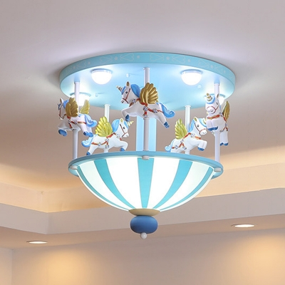Carrousel Resin Flush Lighting Kids 5 Heads Pink/Blue Finish Ceiling Mounted Fixture for Bedroom