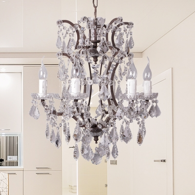 Crystal Candlestick Ceiling Chandelier Traditional 4/6 Lights Living Room Hanging Lamp Fixture in White, HL615820