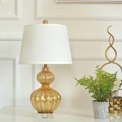 Fabric Tapered Drum Shade Table Light Farmhouse 1 Bulb Living Room Nightstand Lamp with Gourd Base in Gold