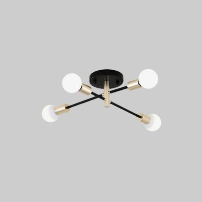 Iron Sputnik Linear Semi Flush Lighting Modernist 4/6-Bulb Black and Gold Close to Ceiling Lamp