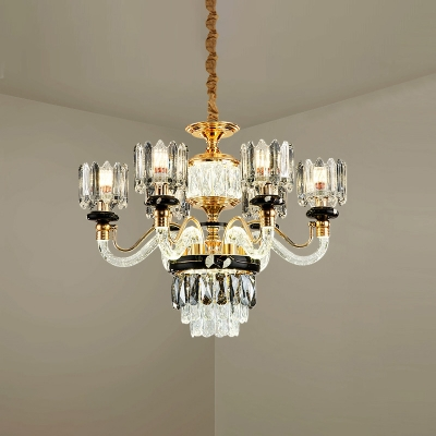 Scroll Arm Living Room Chandelier Traditional Crystal Block 6/8-Head Gold Ceiling Pendant Lamp