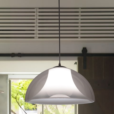 1 Bulb Bedside Hanging Lighting Simple Black Ceiling Pendant Lamp with Semicircle Clear Glass Shade