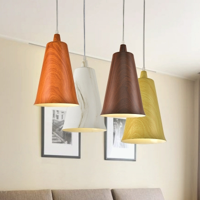 Beautifulhalo coupon: 1 Bulb Horn Shape Ceiling Pendant Nordic White/Yellow/Orange Aluminum Hanging Light Fixture with Wood Grain Design