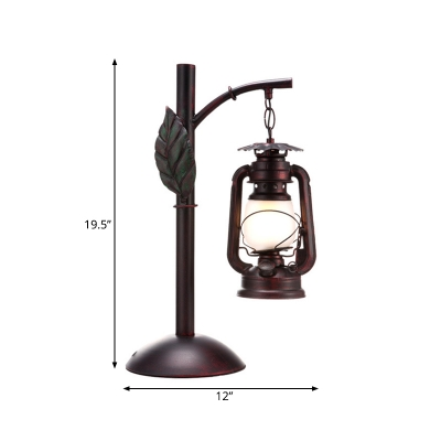 1 Light Table Lighting Factory Style Lantern Opal Glass Desk Light in Copper with Dome Base