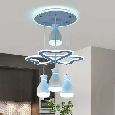 4-Bulb Kitchen Suspension Pendant Contemporary White/Black Loving Heart Designed Cluster Hanging Lamp with Bottle Acrylic Shade