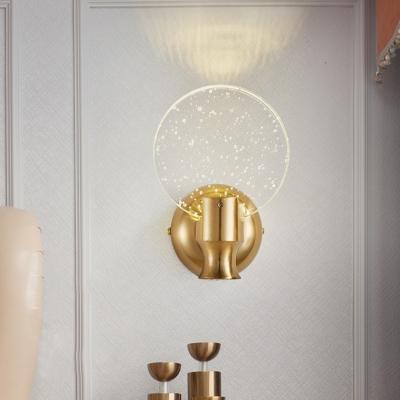 "Купить со скидкой 5""/6"" Wide Bubble Crystal Panel Wall Sconce Minimalist LED Gold Wall Mount Light Fixture for Bedroom"