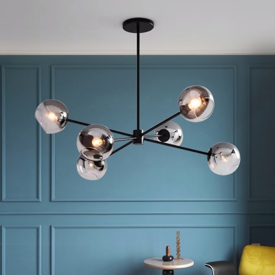 6-Bulb Living Room Hanging Chandelier Minimalist Black Finish Sputnik Pendant Ceiling Lamp with Ball Smoke Gray Glass Shade