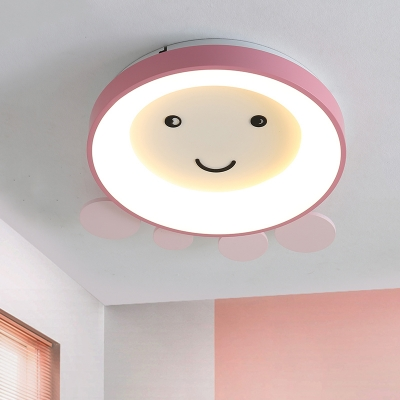 Cartoon Octopus Flush Mount Lighting Acrylic LED Bedroom Flush Lamp Fixture in Pink/Blue