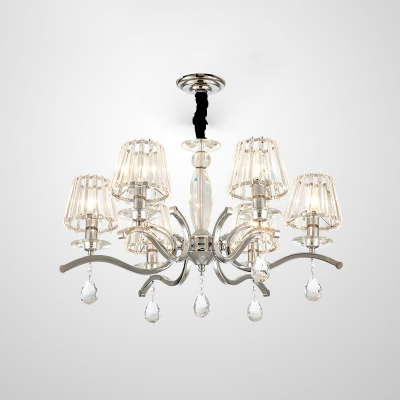 Cone Crystal Chandelier Pendant Light Contemporary 5/6 Heads Living Room Hanging Lamp Kit in Silver